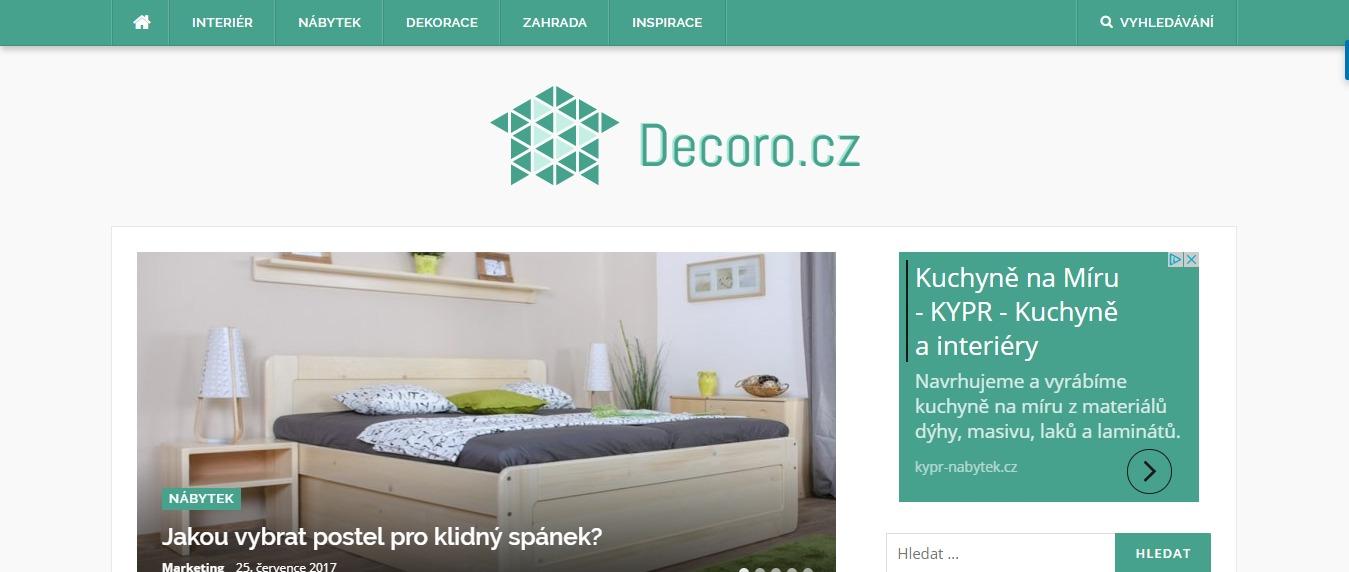 Tvorba webu pro Decoro.cz